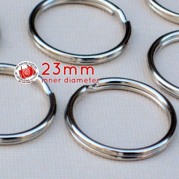 15 pieces 23mm split rings / key rings (available in nickel, and antique brass color finish)