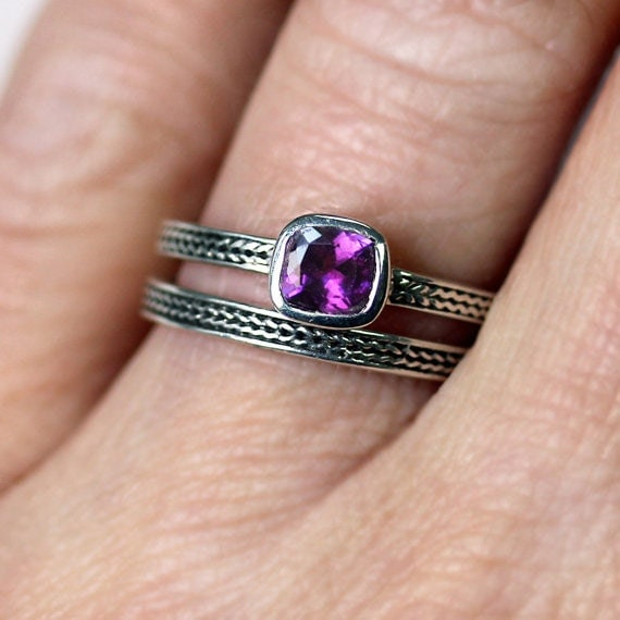 Purple amethyst engagement ring - February birthstone - recycled sterling silver - cushion cut solitaire - wheat braid - made to order