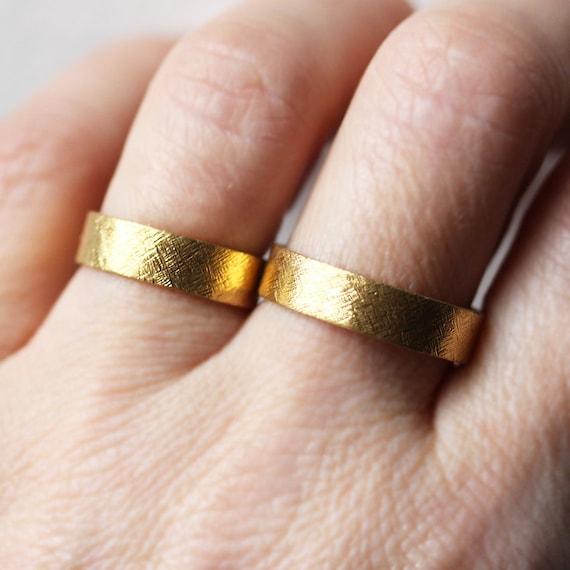 22k gold wedding band set rustic wedding ring set 22k gold