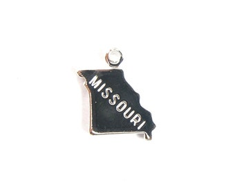 Engraved Tiny SILVER Plated on Raw Brass Missouri State Charms (2X) (A424-B)
