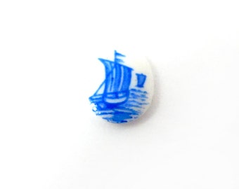 Vintage Japanese Glass Limoge Cabochons With Blue Ship Decal (8X) (CB540)