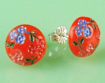 Vintage 1940s Orange Japanese Glass Post Earrings