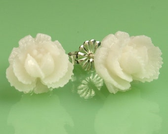 Vintage  White Rose Button Post Earrings