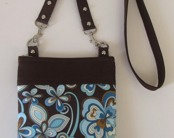 Teal Blue and Brown Flower Crossbody Long Strap Bag