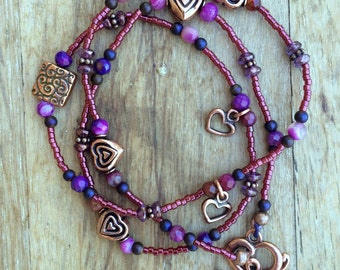 Copper Hearts Charmed Triple wrapped Bracelet or Single strand necklace
