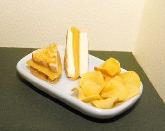 Grilled Cheese Sandwich and Potato Chips (1:4 scale)--MADE TO ORDER miniature