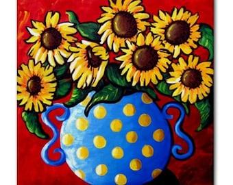 Sunflowers Blue Polka Dots Vase Fun Colorful  Whimsical Folk Art Ceramic Tile
