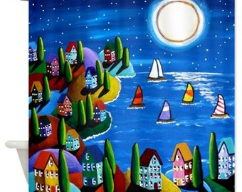 Night Time Sail Moon Sailboats Folk Art Whimsical Colorful Bathroom Shower Curtain