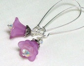 Lilac Lucite Flower Earrings, Swarovski AB Crystals, Long Silver Kidney Wires... Delicate Floral Jewelry