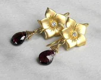 Gold Floral Garnet Earrings, Matte Gold Vermeil & Gold Filled Wire Wrapped Gemstone Briolettes... January Birthstone Gift for Her