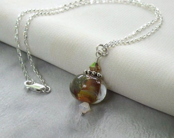 Lampwork Boro and Crystal Pendant, Sterling Silver Wire Wrapped, Swarovski Crystals (With or Without Necklace) Autumn Jewelry