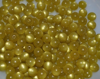 Vintage Lucite Olive Green Small Round Moonglow Beads 25