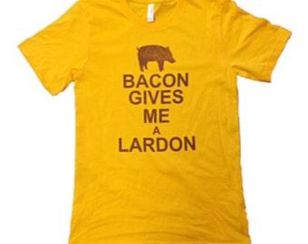 """projectchane screenprinted tshirt """"Bacon Gives me a Lardon"""""""