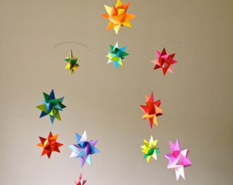 Hanging Nursery Origami Star Mobile -'Vela' Rainbow