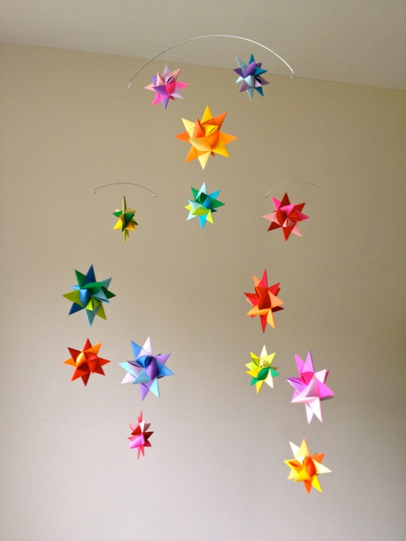 Hanging Nursery Origami Star Mobile Vela Rainbow