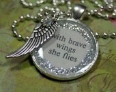 With Brave Wings She Flies Statement Necklace Angel Fairy Wing Layering