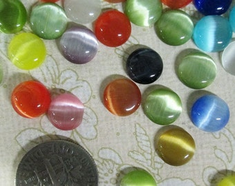 20 cute 8mm round cats eye glass cabochons,  mixed color cabs
