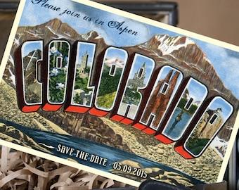 Vintage Large Letter Postcard Save the Date (Aspen, Colorado) - Design Fee