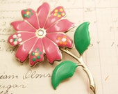 Vintage Enamel Hot Pink Mod Flower Brooch - To Benefit Heart Strings