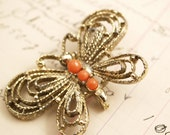 Vintage Butterfly Orange and Gold Brooch Pin - To Benefit Heart Strings