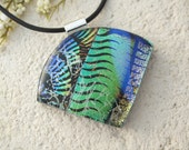 Dichroic Jewelry, Black Green Necklace, Fused Glass Jewelry, Fused Glass Pendant,Green Necklace, Necklace Included, ccvalenzo, 070517p101