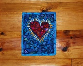 Turquoise and Red Flaming Heart Fabric Mosaic Wall Quilt Art 8X10