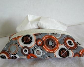 Quilted Tissue Holder - Pocket Size Tissue Case - Floral Tissue Cozy - Gray Orange Brown