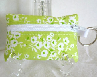 Coin Purse Floral - Floral Change Purse - Small Zippered Pouch - Lime Flowers - Coin Purse with Key Ring - Lime Earbud Case