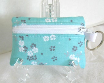 Coin Purse Floral - Change Purse - Small Zippered Pouch - Aqua Grey Flowers - Floral Ear Bud Case