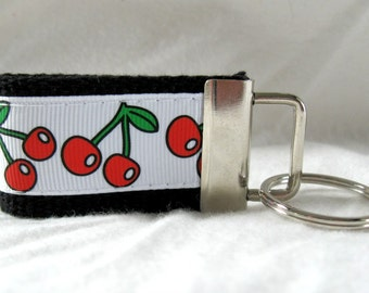 Cherries Mini Key Fob - Small Fruit Key Chain - BLACK Fruit Keychain - Cherry Zipper Pull