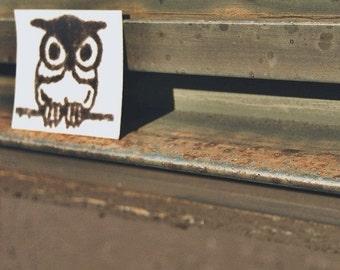 cute mini Owl Rubber Stamp