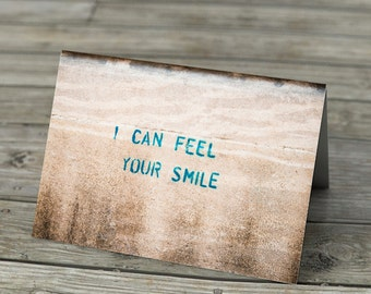 I Can Feel Your Smile Romantic Love Note Card - Valentines stencil graffiti blank card photography romance love wall street art urban
