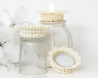 Tealight Candle Holders, Home Decor in Shabby Elegance, Set of 3 Off White Tealight Candle Holders