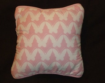 Girls Pink White Butterfly Butterflies Accent Pillow made with Amy Coe Rare Discontinued Bedding Fabric