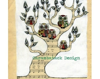 Owl family  - Tree with owls - Woodland nursery art ,  Archival art print - owl art , family tree