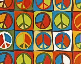 Robert Kaufman Flower Child Peace Signs Earth OOP Fabric - Half Yard