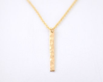 Hammered Vertical gold bar necklace - skinny bar pendant necklace - delicate minimalist necklace - layering jewelry - Slice gold filled