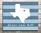 Newborn Baby State Silhouette Wall Art with Birth Details - Keepsake Gift Print for the Nursery, Baby Showers, Newborn Gift