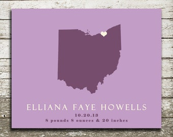 OHIO State Silhouette Wall Art - Gift Print for Weddings, Anniversaries, Housewarming, Nursery
