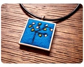 Pendant Necklace Embroidered on Felt // Textile Jewelry // Tree Necklace // Hand stitching // Tree Pendant // Nature Jewelry