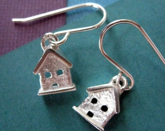 Sterling Silver Earrings Tiny House Dangle - Dainty - Small - Delicate - Simple