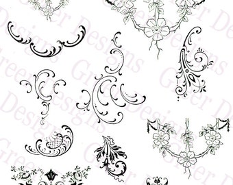 Ornament Scrolls Curls Vintage filigree Art Deco Floral Lacy Trims Ephemera Victorian Digital Download