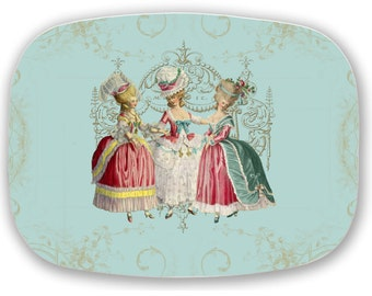 Marie Antoinette Platter Girls Ladies in Waiting French style Melamine Serving Platter Tray Gift