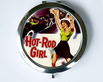Hot Rod Girl Compact Mirror Pocket Mirror retro rockabilly