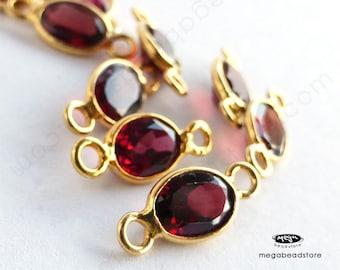6 pcs 7mm Red Garnat Gold Bezel Oval Connector Pendants F493