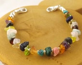 LARGE Multi stone multicolor medical alert bracelet size 6.5 inches