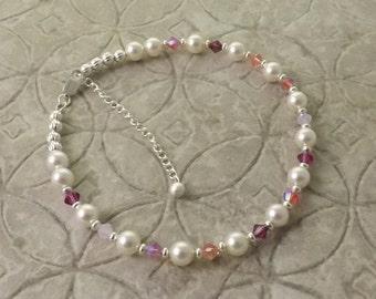 In The Pink Swarovski pearl and crystal adjustable anklet ankle bracelet