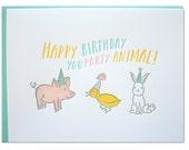 Party Animal Birthday Letterpress card