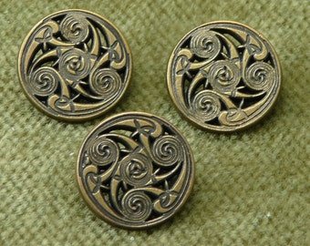 Antique Brass Zentangle Isle of Man Floral Buttons   5753 B11