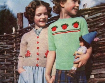Pdf Girls Cardigan and Jumper Vintage Knitting Pattern 1950 Apple and Fairy Toadstool Download
